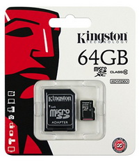 Карта памяти microSDXC 64GB class 10 Kingston